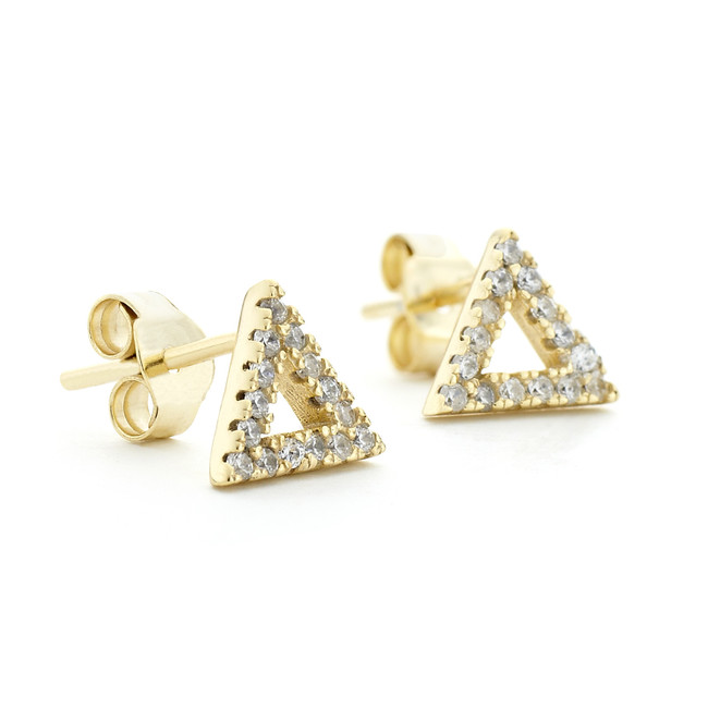 Gold vermeil triangle crystal stud earrings in sterling silver core metal