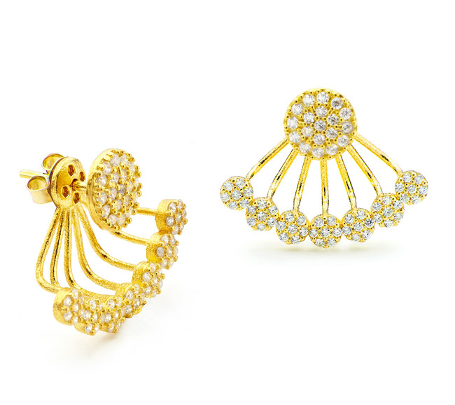 One by One swing earrings with CZ discs and yellow gold vermeil finish over sterling silver