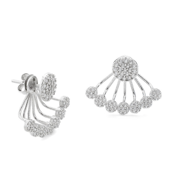 White rhodium sterling silver CZ pave disc swing earrings in the Constellations collection