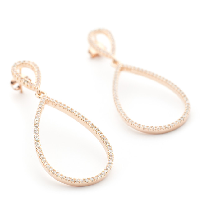 Rose gold vermeil open teardrop earrings with CZ crystals Allobar collection from OneByOne