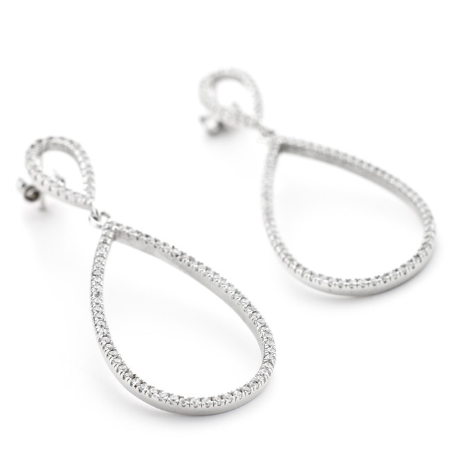 Allobar sterling silver open teardrop earrings with CZ crystals and white rhodium overlay to prevent tarnishing