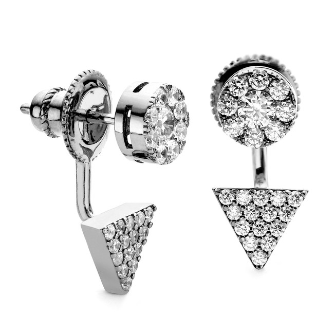 Sterling silver with black rhodium finish prism and disc swing earring with CZ stones