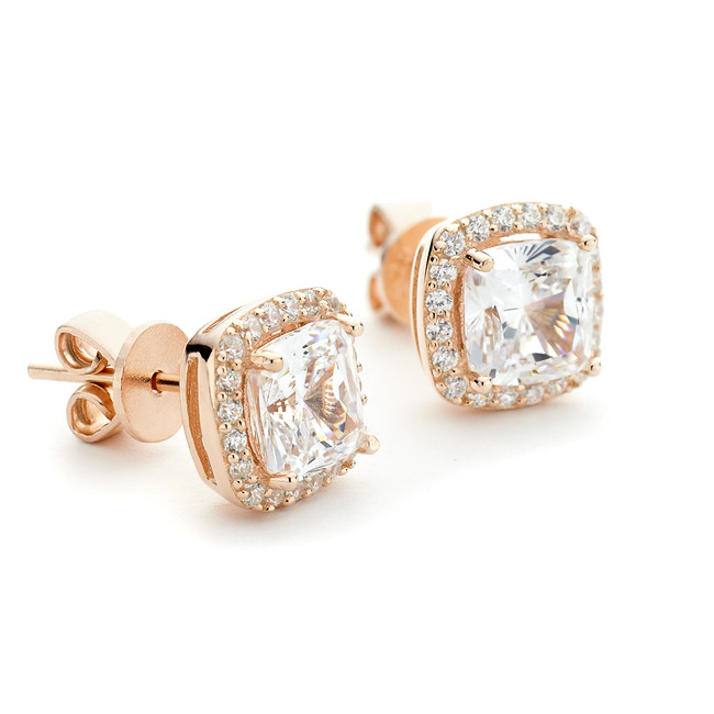 Constellations square stone stud earrings from One by One in rose gold vermeil with crystal halo