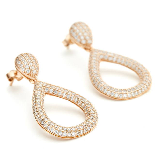 14ct rose gold vermeil solid teardrop earring with CZ crystal from One by One Jewellery London