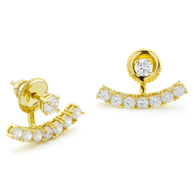 One by One CZ swing ear studs with curved bar in yellow gold vermeil Constellations collection