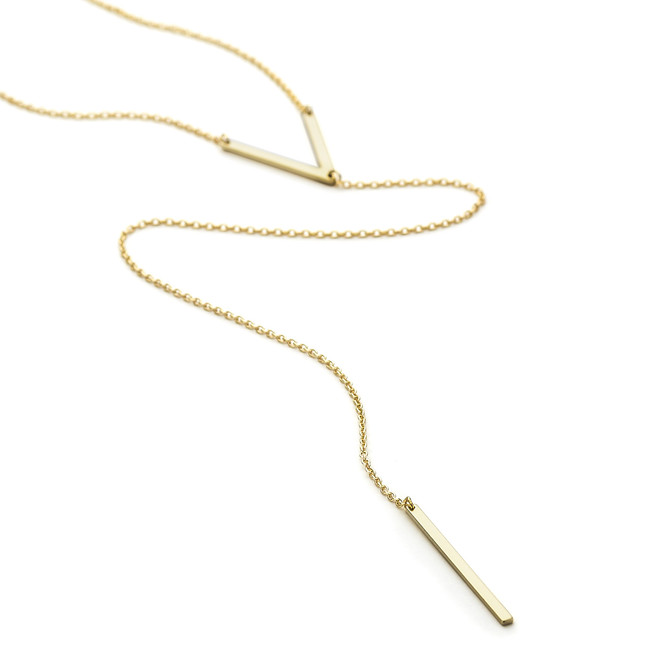 Allobar V Ingot Lariat Long necklace in 14ct yellow gold vermeil over sterling silver core metal