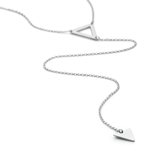 Positive and negative double prism lariat long necklace in silver from One by One Jewellery London