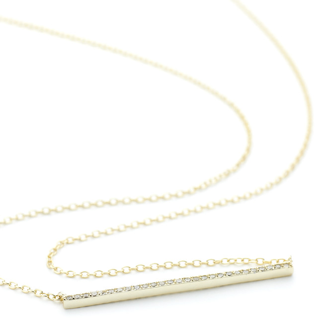 1.5mm thin Allobar ingot necklace in 14ct yellow gold vermeil over sterling silver with crystals