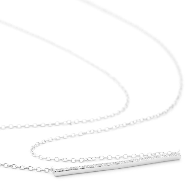 1.5mm ingot necklace Allobar collection white rhodium over sterling silver with crystals from One by One
