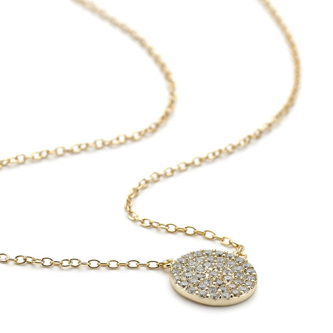 Crystal pave disc necklace yellow gold vermeil