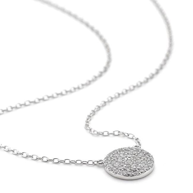 Silver crystal pave disc necklace