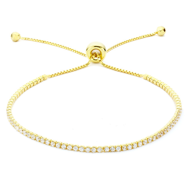 14ct yellow gold vermeil Constellations collection single strand CZ crystal slide bracelet from One by One