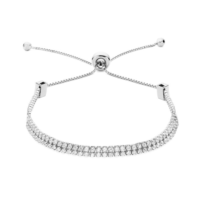 Double strand cz slide bracelet in sterling silver