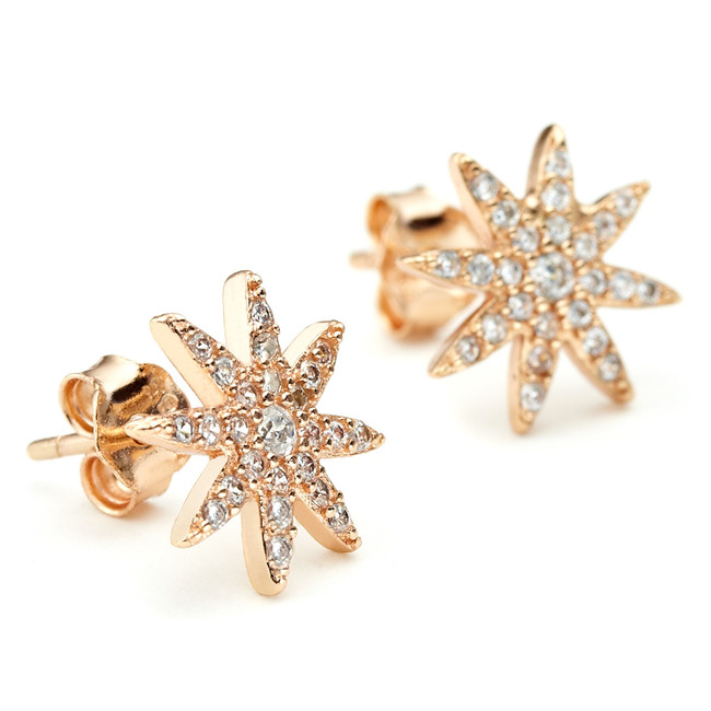 Constellations Starburst CZ earrings in 14ct rose gold vermeil over sterling silver core metal