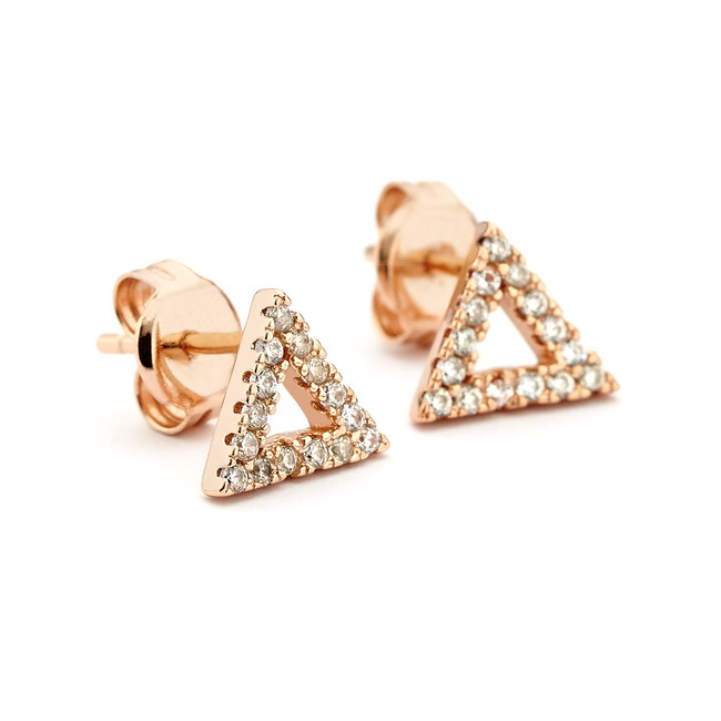 triangle crystal stud earrings rose gold vermeil