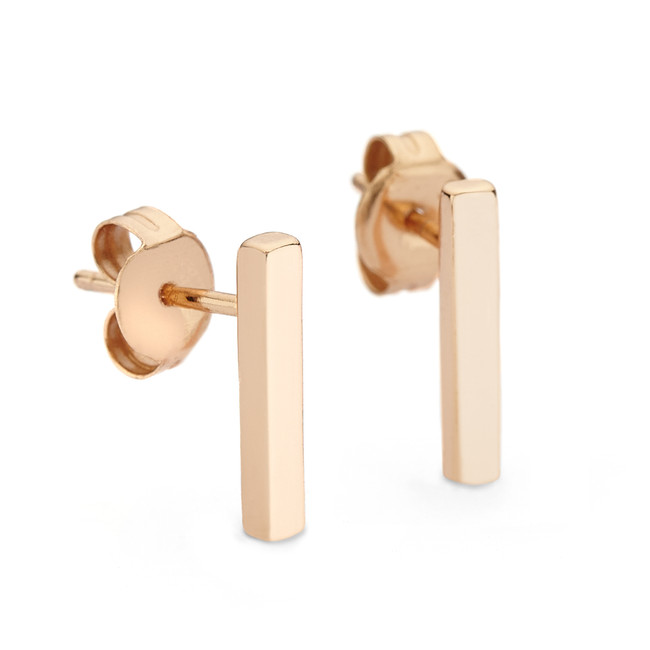 bar stud earrings rose gold vermeil