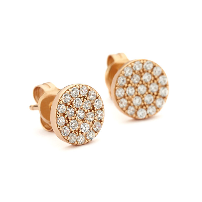 pave crystal disc stud earrings rose gold vermeil