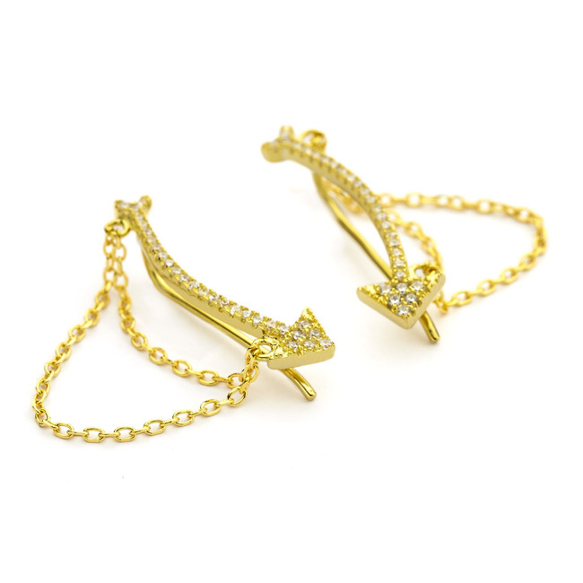 chain cuff earrings with cz arrow - gold vermeil
