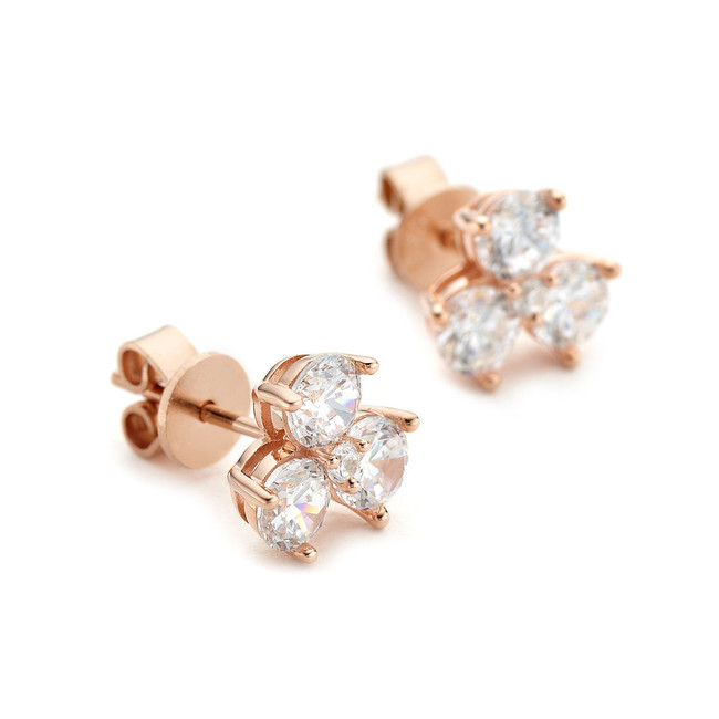triple cluster crystal stud earrings - rose gold vermeil