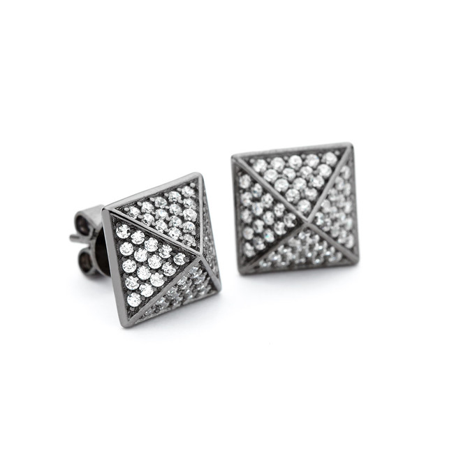 black rhodium crystal pyramid stud earrings
