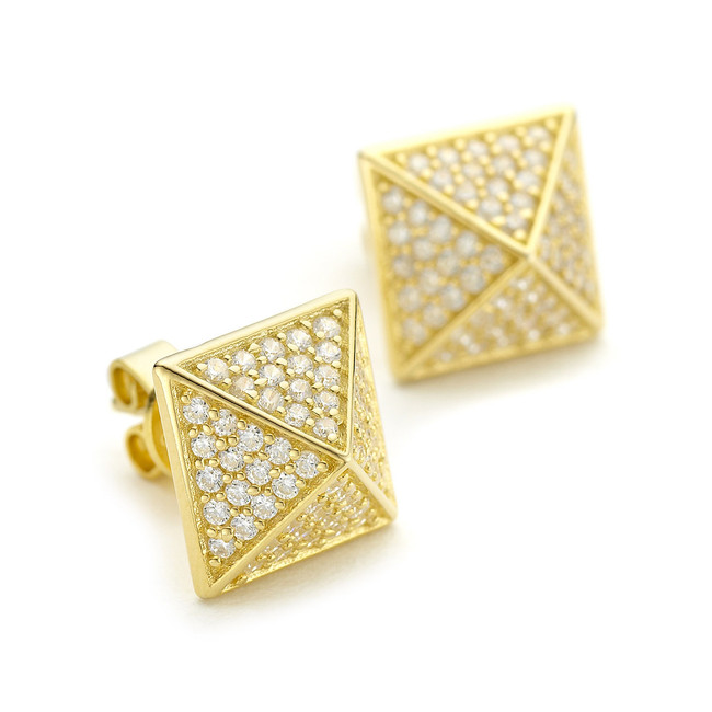 crystal pyramid stud earrings yellow gold vermeil