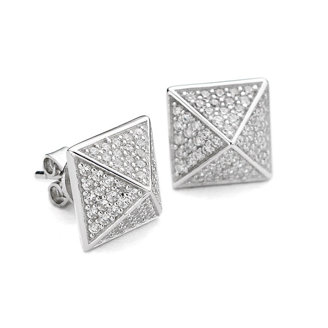 sterling silver pyramid stud earrings cz pave