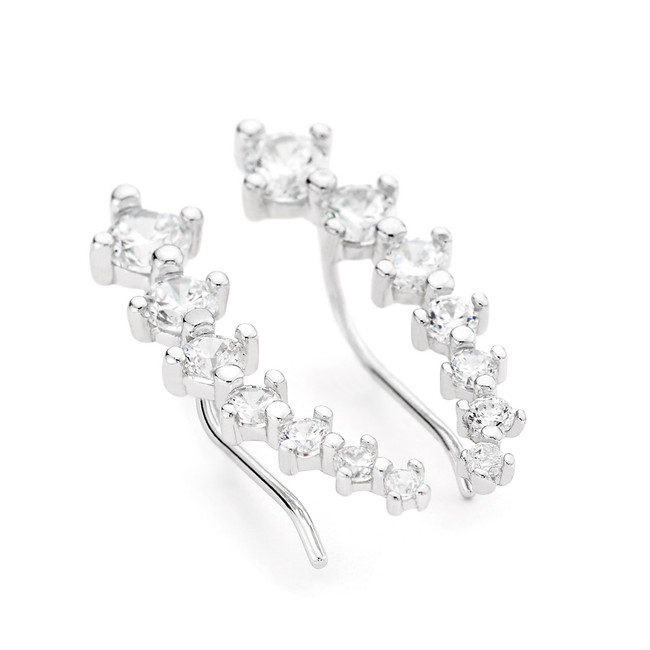 sterling silver 7-stone ear climber earrings