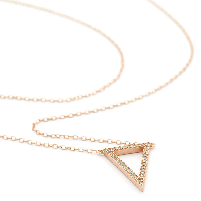 triangle crystal necklace - rose gold vermeil