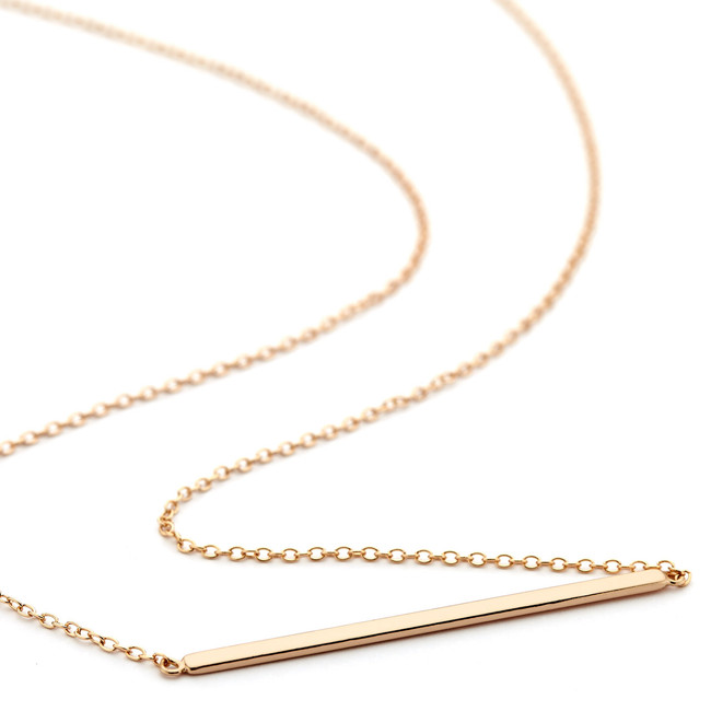 2mm bar necklace - rose gold vermeil
