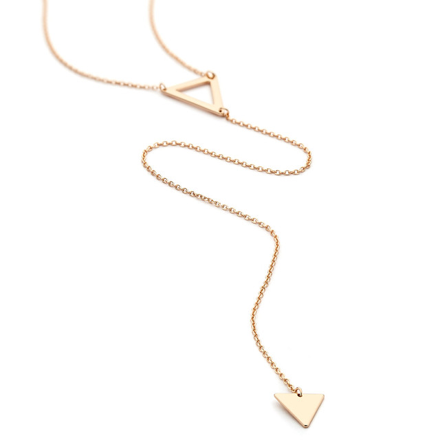double triangle lariat necklace - rose gold vermeil