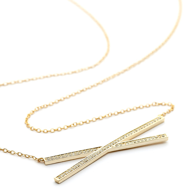 criss cross bar necklace cz pave - gold vermeil