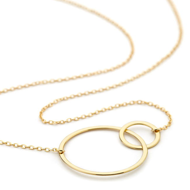 double circle necklace - gold vermeil