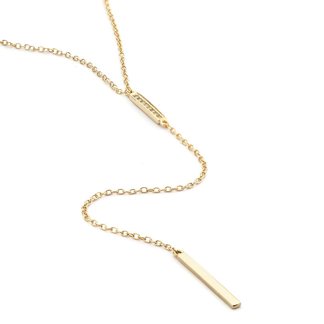 duo long lariat bar necklace - gold vermeil