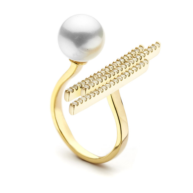 pearl and crystal pave bar open ring - gold vermeil