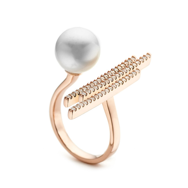 pearl and cz pave bar open ring - rose gold vermeil