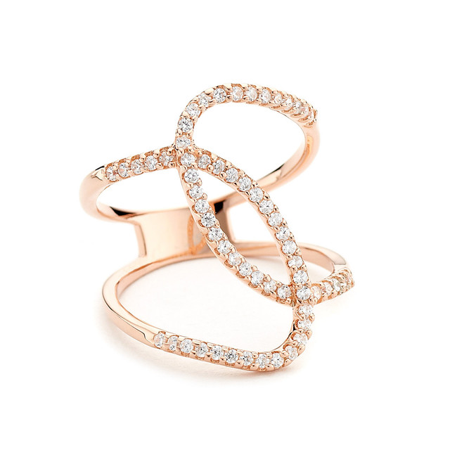 curvy cz pave ring - rose gold vermeil