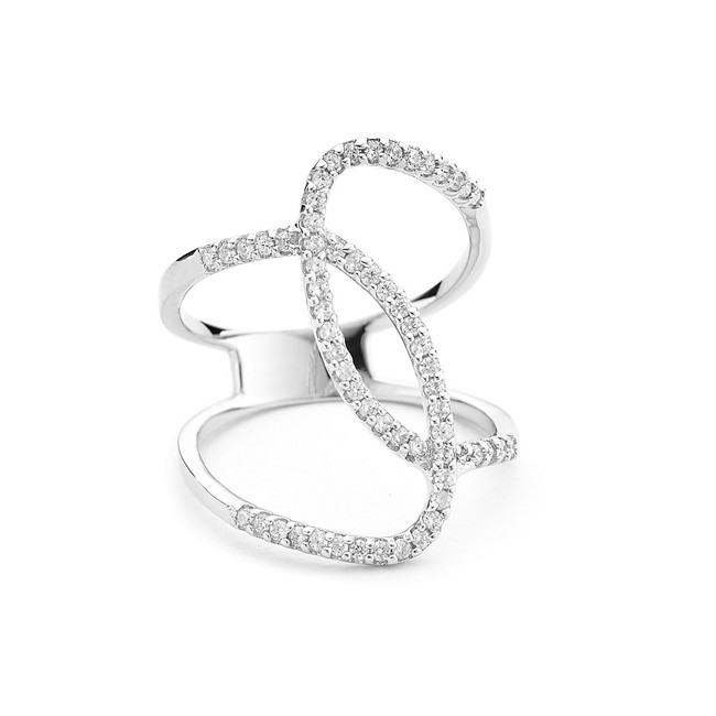 sterling silver curvy crystals ring