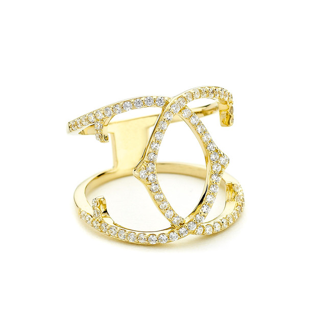 spur crossover ring cz pave - gold vermeil