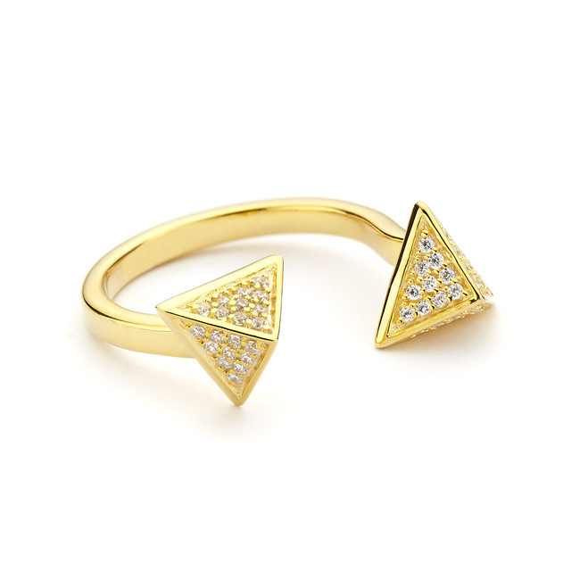 pyramid open ring cz pave - gold vermeil
