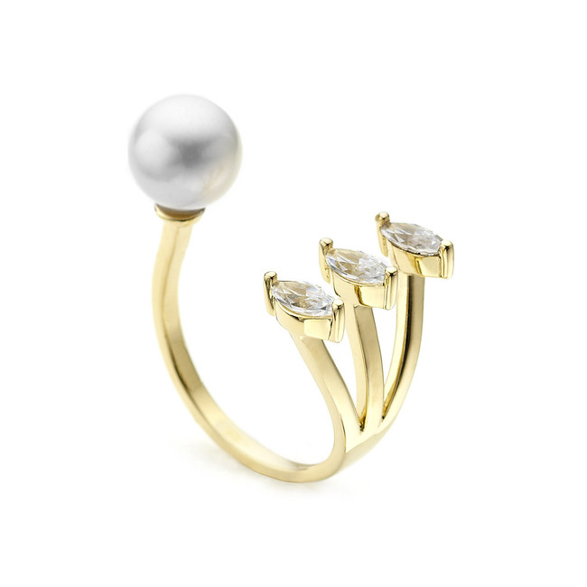 open pearl ring facetted pear crystals - yellow gold vermeil