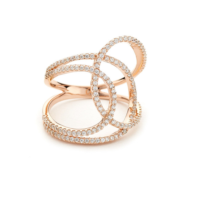curvy curvy crystal pave bypass ring - rose gold vermeil