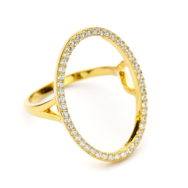 oval open circle ring cz pave - gold vermeil