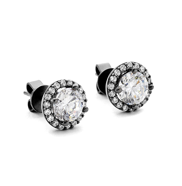 black rhodium cz round halo stud earrings
