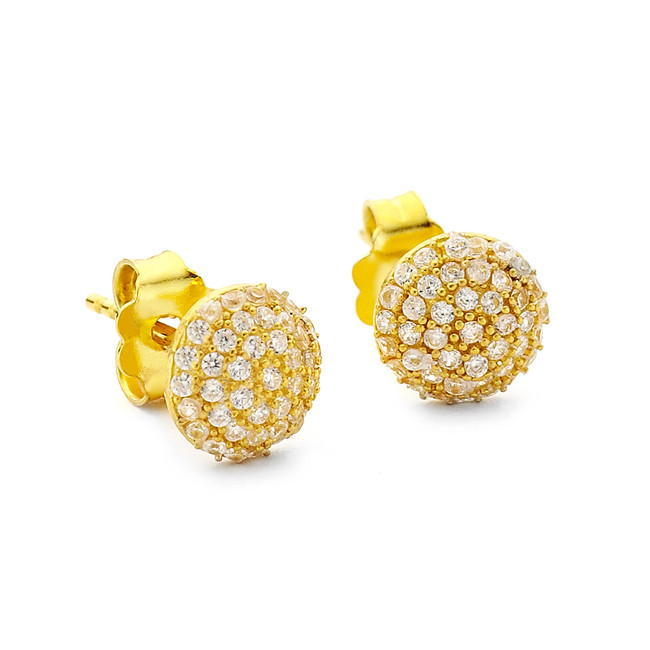 crystal pave round stud earrings - gold vermeil