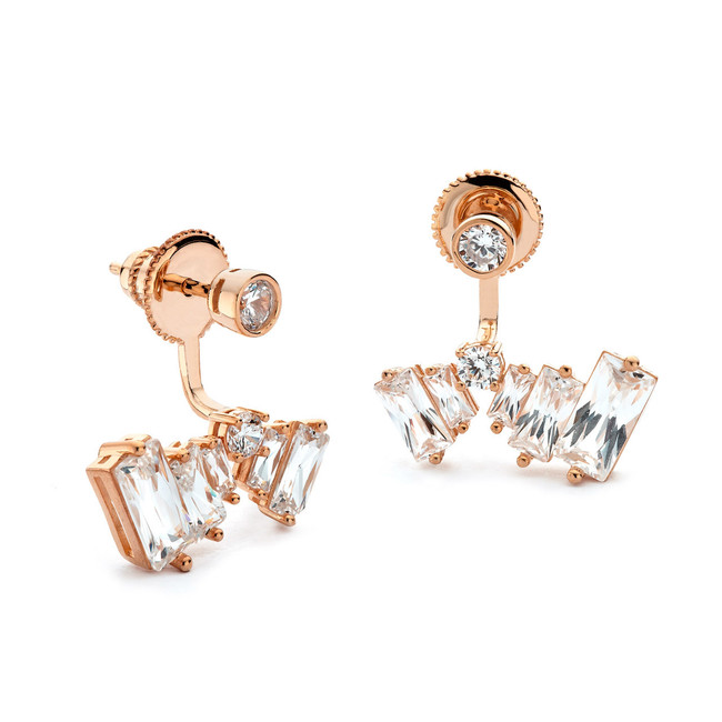 Baguette cz under lobe earrings rose gold