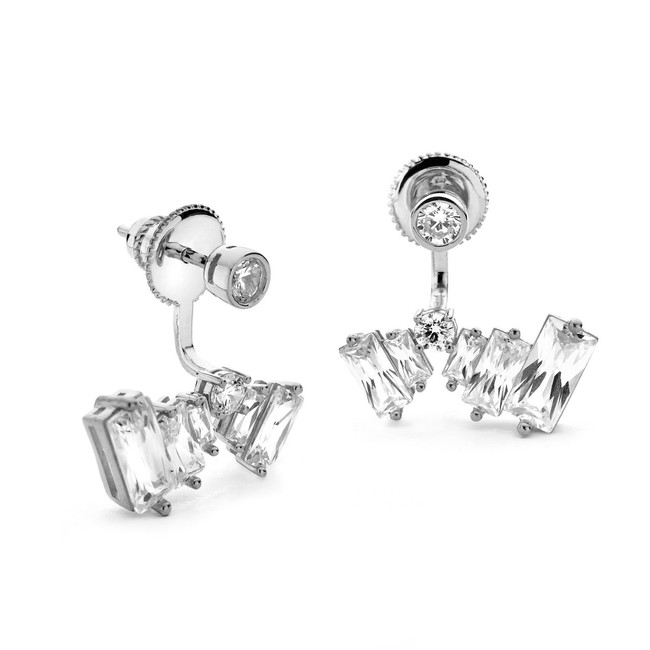 Baguette czs silver front and back earrings