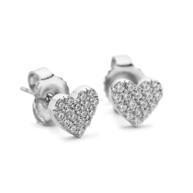 Cz pave my heart silver stud earrings