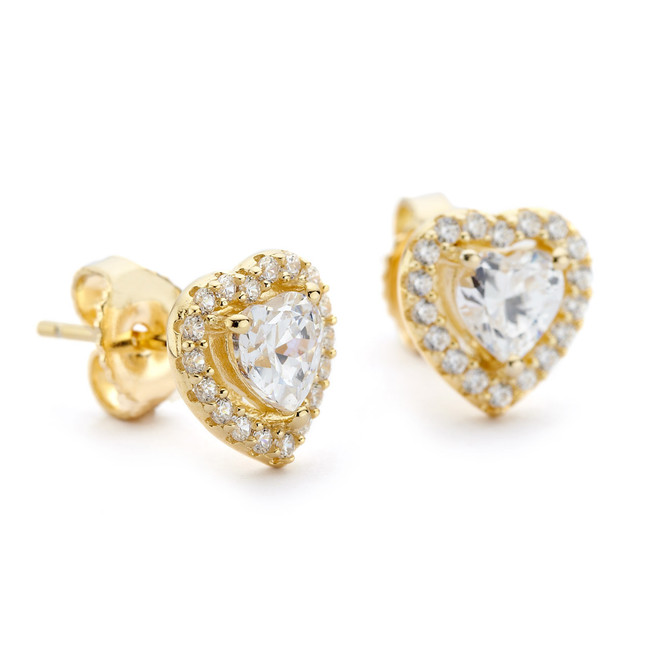 Gold heart in heart earrings cz halo