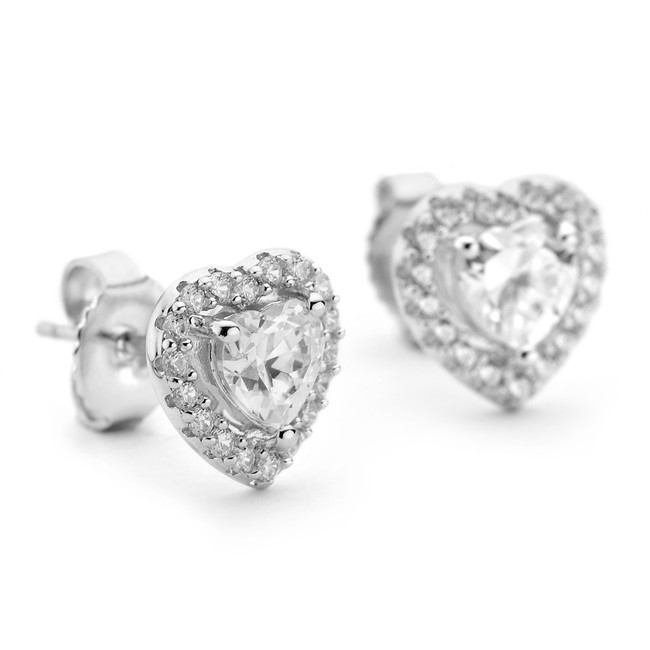 Silver heart earrings cz heart in cz halo