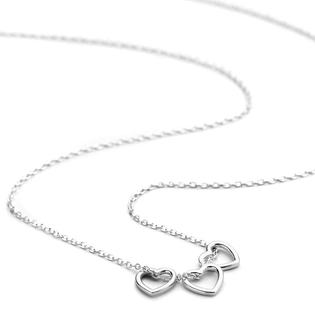Triple heart necklace sterling silver